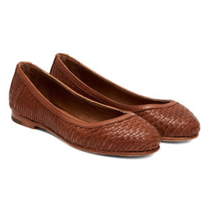 NEW Frye Cognac Carson Woven Leather Ballet Flats